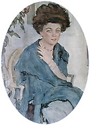 Yelena Oliv, 1909.  Gouache, watercolour and pastel on card. Portrait by Valentin Serov (1865-1911) Russian painter. Oval, three-quarter length portrait of seated woman in blue. Female