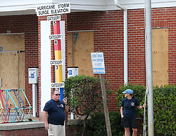 Volunteer firefighters Todd Smith and his wife, Tammy, make final preparations closing down Tybee Island City Hall before Hurricane Irma arrives on Saturday, September 9, 2017, on Tybee Island, Ga. Photo by Curtis Compton/Atlanta Journal-Constitution/TNS/ABACAPRESS.COM
