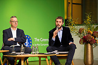 DEU, Deutschland, Germany, Berlin, 23.11.2018: Prof. Dr. Peter Bofinger, Member of the German Council of Economic Experts, Jordi Vaquer, Regional Director for Europe of Open Society Foundation. Council of the European Green Party (EGP council) at Deutsche Telekom Representative Office.