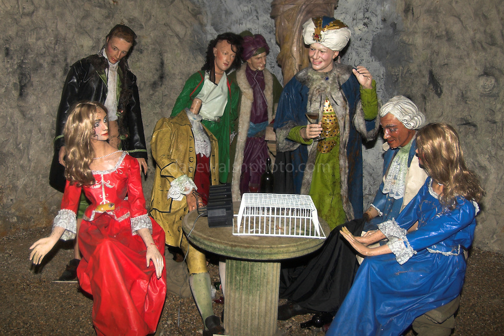 Sir Francis Dashood and friends in the Inner Temple of the the Hellfire Caves, built by in the 18th century into a chalk hill in Buckinghamshire