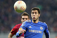 Chelsea's Eden Hazard (R) vies for the ball during the first leg of the UEFA Europa League round of 16 football match between Steaua Bucharest and Chelsea at the National Arena Stadium in Bucharest on March 7, 2013.