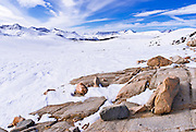 The Sierra crest from Piute Pass in winter, Inyo National Forest, Sierra Nevada Mountains, California