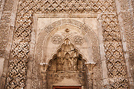 Door of Gök Medrese which has a very rich decorative appearance. Its islamic Muqarnas corbelled vault is made up of a large number of miniature squinches, producing a sort of cellular structure. The crown gate of Gök Medrese is one of the best examples of Sejuk architecture in Anatolia, Sivas, Turkey .<br /> <br /> If you prefer to buy from our ALAMY PHOTO LIBRARY  Collection visit : https://www.alamy.com/portfolio/paul-williams-funkystock/sivas-turkey.html<br /> <br /> Visit our TURKEY PHOTO COLLECTIONS for more photos to download or buy as wall art prints https://funkystock.photoshelter.com/gallery-collection/3f-Pictures-of-Turkey-Turkey-Photos-Images-Fotos/C0000U.hJWkZxAbg