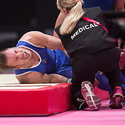 Eythor Baldursson of Iceland suffers a bad injury after a fall from the Rings at the 46th FIG Artistic Gymnastics World Championships in Glasgow, Britain, 26 October 2015.