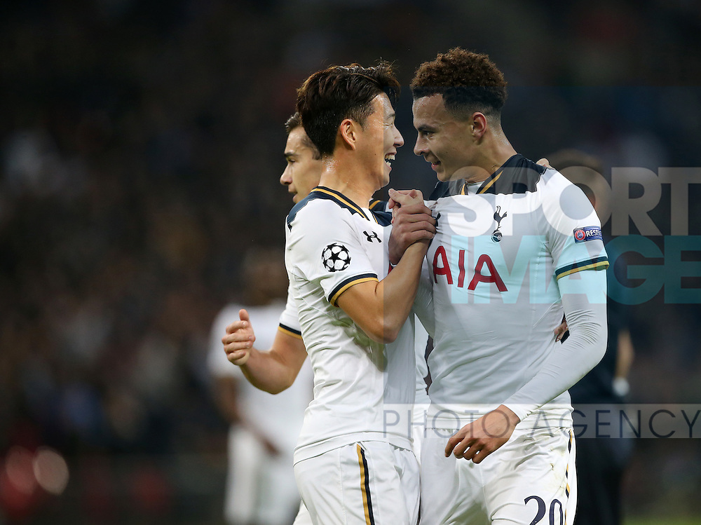 Tottenham's Dele Alli celebrates scoring his sides opening goal during the Champions League group match at Wembley Stadium, London. Picture date December 7th, 2016 Pic David Klein/Sportimage