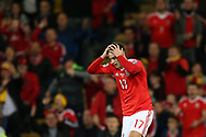 Tom Lawrence of Wales looks dejected.  Wales v Rep of Ireland , FIFA World Cup qualifier , European group D match at the Cardiff city Stadium in Cardiff , South Wales on Monday 9th October 2017. pic by Andrew Orchard, Andrew Orchard sports photography
