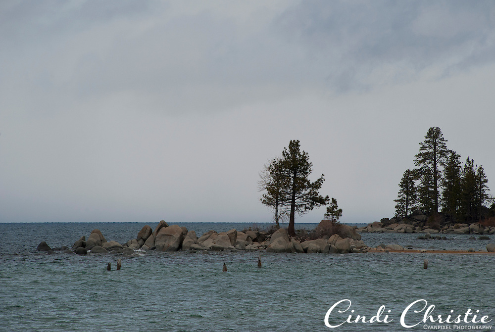 The water level at Lake Tahoe is high, but people can still access this finger of land north of  Zephyr Cove, Nev., on Sunday, April 24, 2011.  (© 2011, Cindi Christie/Cyanpixel® Photography)