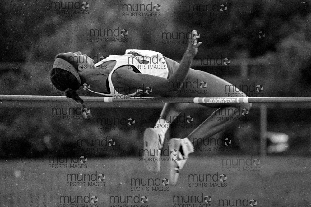 (Montreal, Canada --- 25 July 1991) Leslie Estwick in the high jump at the 1991 Canadian National Track and Field Championships held at the Complexe sportif Claude-Robillard in Montreal. Photo 1991 Copyright Sean Burges / Mundo Sport Images. ******This is an unprocessed scan from the negative. You can buy it as is and clean it up yourself, or contact us for rates on providing the service for you. *******