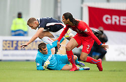 Falkirk's Alex Cooper and Rangers Cammy Bell and Bilel Moshsni. Falkirk 0 v 2 Rangers, Scottish Championship game played 15/8/2014 at The Falkirk Stadium.