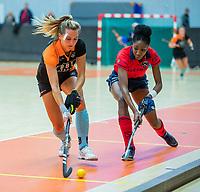 AMSTERDAM -  Laura van Weeren (Gro) met Laura Marell (Laren) .  Zaalhockey hoofdklasse, Laren D1-Groningen D1 (2-2). COPYRIGHT KOEN SUYK
