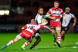 Fiji Winger (#14) Timoci Matanavou is tackled by Gloucester Fly-Half (#10) Dan Robson during the first half of the match - Photo mandatory by-line: Rogan Thomson/JMP - Tel: Mobile: 07966 386802 13/11/2012 - SPORT - RUGBY - Kingsholm Stadium - Gloucester. Gloucester Rugby v Fiji - International Friendly