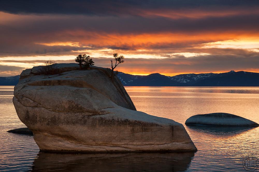 """""""Bonsai Rock Sunset 4"""" - Photograph of a orange and yellow sunset at Bonsai Rock on Lake Tahoe."""