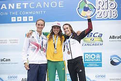 RIO DE JANEIRO, Sept. 29, 2018  Jessica Fox (C) of Australia, Mallory Franklin (L) of Great Britain and Ricarda Funk of Germany pose for photograph during the awarding ceremony of the women's Kayak (K1) final at the 2018 ICF Canoe Slalom world championships in Rio de Janeiro, Brazil, Sept. 29, 2018. Jessica Fox won the gold with 102.06 seconds, Mallory Franklin and Ricarda Funk won the silver and the bronze with 104.34 seconds and 105.32 seconds respectively. (Credit Image: © Li Ming/Xinhua via ZUMA Wire)
