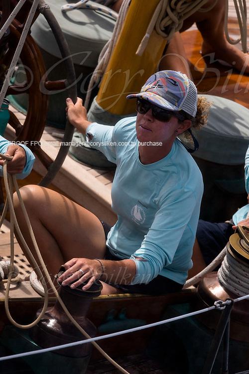 Sapahedra sailing in the Antigua Classic Yacht Regatta, Windward Race.