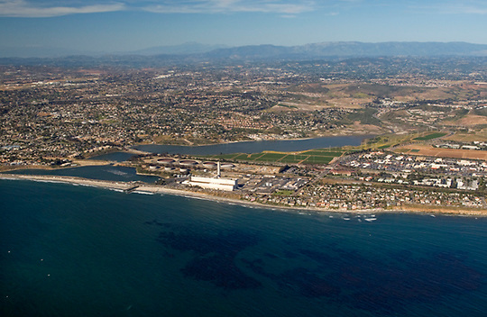 View of the Encina Power Plant in Carlsbad, California, from the air looking northeast. The Buena Vista Lagoon is located directly behind the power plant.