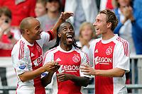 Fotball<br /> Nederland v Ungarn<br /> Foto: Proshots/Digitalsport<br /> NORWAY ONLY<br /> <br /> Ajax - Vitesse , 14-07-2010 , 4-2 , Demy de Zeeuw , Vurnon Anita en Christian Erikson vieren de 4-2