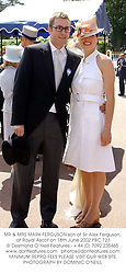 MR & MRS MARK FERGUSON son of Sir Alex Ferguson, at Royal Ascot on 18th June 2002.	PBC 123