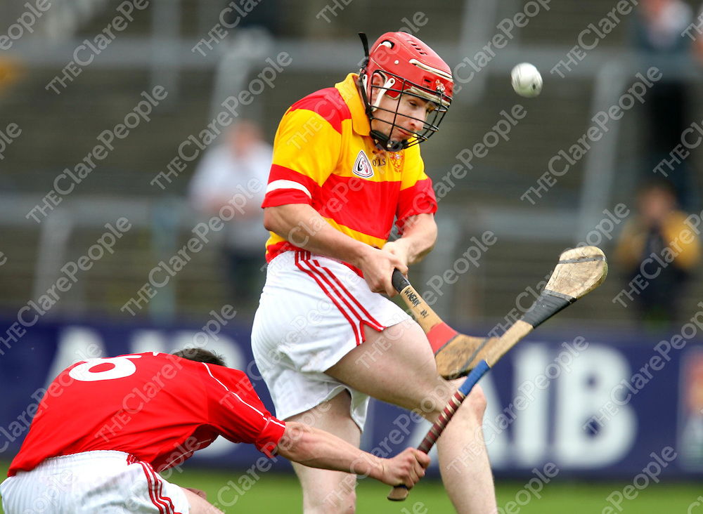 Willie Neary and Tom Meaney in action during the Crusheen V Smith O'Briens senior Hurling Championship match at Cusack park on Sunday.<br /> <br /> Photograph by Eamon Ward