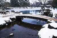 "Nijibashi Bridge at Kenrokuen - the ""Six Attributes Garden"" (spaciousness, seclusion, artifice, antiquity, watercourses and panoramas)  is one of the Three Great Gardens of Japan along with Kairakuen and Korakuen."
