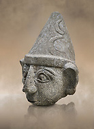 Hittite statue head of a god, Hittite capital Hattusa, Hittite Middle Kingdom 1650-1450 BC, Bogazkale archaeological Museum, Turkey.