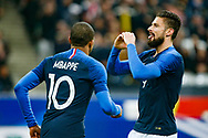 France's Olivier Giroud (R) celebrates after scoring during the International Friendly Game football match between France and Colombia on march 23, 2018 at Stade de France in Saint-Denis, France - Photo Geoffroy Van Der Hasselt / ProSportsImages / DPPI