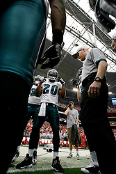 18 Jan 2009: Philadelphia Eagles safety Brian Dawkins #20 speaks to the defense in a huddle before the NFC Championship game against the Arizona Cardinals on January 18th, 2009. The Cardinals won 32-25 at University of Phoenix Stadium in Glendale, Arizona. (Photo by Brian Garfinkel)