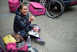 Silvia Valsecchi (BePink) prepares her stem notes at Strade Bianche - Elite Women. A 127 km road race on March 4th 2017, starting and finishing in Siena, Italy. (Photo by Sean Robinson/Velofocus)