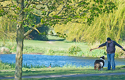 ©Licensed to London News Pictures 21/04/2020  <br /> Sidcup, UK. A sunny morning walking the dog at Foots Cray Meadows in Sidcup, South East London as people get out of the house from coronavirus lockdown to exercise. Photo credit:Grant Falvey/LNP