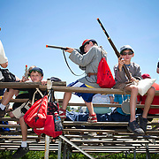 Spectators at the 147th annual Gettysburg Civil War battle reenactment in Gettysburg, Pennsylvania.