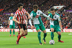 March 2, 2019 - Sunderland, England, United Kingdom - Sunderland's Luke O'Nien contests for the ball with Plymouth Argyle's Gary Sawyer during the Sky Bet League 1 match between Sunderland and Plymouth Argyle at the Stadium Of Light, Sunderland on Saturday 2nd March 2019. (Credit Image: © Mi News/NurPhoto via ZUMA Press)