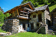 Traditional stone and timber house - Lavizzara, Vallemaggia, Ticino, Switzerland .<br /> <br /> Visit our SWITZERLAND  & ALPS PHOTO COLLECTIONS for more  photos  to browse of  download or buy as prints https://funkystock.photoshelter.com/gallery-collection/Pictures-Images-of-Switzerland-Photos-of-Swiss-Alps-Landmark-Sites/C0000DPgRJMSrQ3U