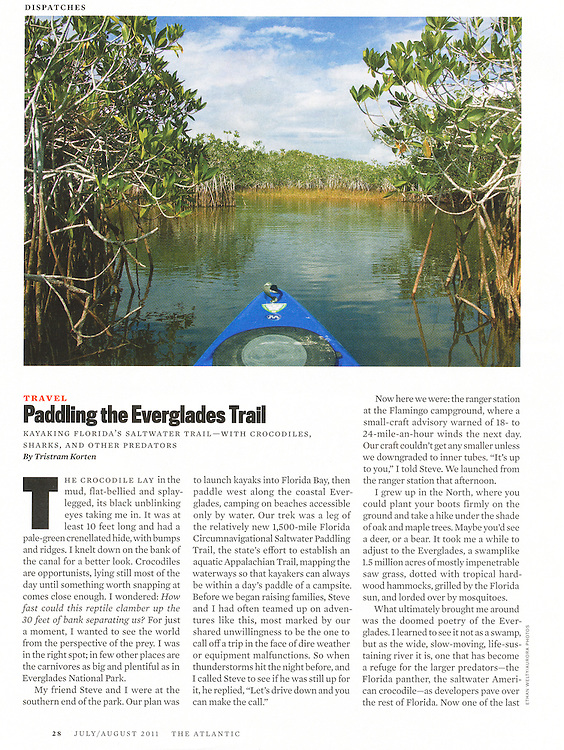 The Atlantic: Paddling the Everglades Trail (July/August 2011)