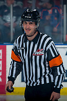KELOWNA, BC - MARCH 6: Referee Bryan Bourdon stands at centre ice for the opening face-off between the Kelowna Rockets and the Seattle Thunderbirds at Prospera Place on March 6, 2020 in Kelowna, Canada. (Photo by Marissa Baecker/Shoot the Breeze)