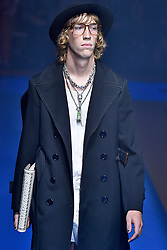 Model David Skylling walks on the runway during the Gucci Fashion Show during Milan Fashion Week Spring Summer 2018 held in Milan, Italy on September 20, 2017. (Photo by Jonas Gustavsson/Sipa USA)