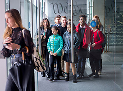 April 12, 2018 - Eugene, Oregon, U.S - Plaintiffs and attorneys in the Juliana v. U.S. climate change lawsuit leave the federal courthouse in Eugene after a case management hearing. The case involves 21 young plaintiffs from all over the United States suing the Trump administration over climate change. On Thursday the district judge set the trial to begin on Oct. 29, 2018 in Eugene. (Credit Image: © Robin Loznak via ZUMA Wire)
