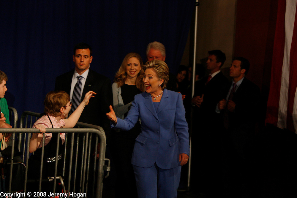 Hillary Clinton enters the stage to celebrate winning the Indiana primary.