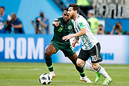 Nigeria defender Bryan Idowu (L) and Argentina forwarder Lionel Messi (R) during the 2018 FIFA World Cup Russia, Group D football match between Nigeria and Argentina on June 26, 2018 at Saint Petersburg Stadium in Saint Petersburg, Russia - Photo Stanley Gontha / Pro Shots / ProSportsImages / DPPI