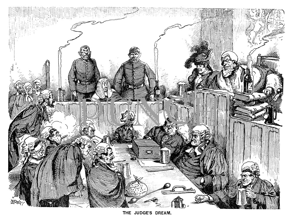 The Judge's Dream. (a Victorian cartoon shows a nightmare scenario in court where the barristers and judge are actually criminals trying a good judge in the dock)