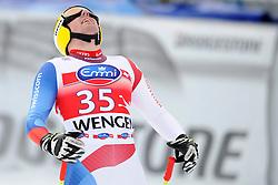 19.01.2013, Lauberhornabfahrt, Wengen, SUI, FIS Weltcup Ski Alpin, Abfahrt, Herren, im Bild Vitus Lueoend (SUI) enttaeuscht und veraergert im Ziel // reacts after his run of mens downhillrace of FIS Ski Alpine World Cup at the Lauberhorn downhill course, Wengen, Switzerland on 2013/01/19. EXPA Pictures © 2013, PhotoCredit: EXPA/ Freshfocus/ Urs Lindt..***** ATTENTION - for AUT, SLO, CRO, SRB, BIH only *****