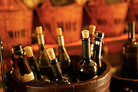 August, 2005, San Polo, Venice, Italy --- Wine Bottles at Cantina do Mori in Venice --- Image by ? Owen Franken