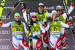 March 15, 2019 - Grandvalira, Andorra - The team from Switzerland on the podium after winning the Alpine Team Event race at the FIS World Cup Finals in El Tarter, Andorra...Team members were : ALINE DANIOTH , WENDY HOLDENER , SANDRO SIMONET , DANIEL YULE and RAMON ZENHAEUSERN (Credit Image: © Christopher Levy/ZUMA Wire)