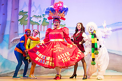 Hackney Empire Theatre, London, November 25th 2015.  Hackney Empire presents Jack and the Beanstalk as their 2015 Christmas pantomime. London's most famous panto will star Hackney Empire's own Olivier nominated dame Clive Rowe as Dame Daisy Trott, Olivier Award-nominated Bodyguard actress Debbie Kurup as Jack and Hackney Panto favourite Kat B as Snowman. Written and directed by Creative Director Susie McKenna, with music by Steven Edis. PICTURED: L-R Darren Hart - Clumsy Colin, Georgia Oldman - Off Her Trolley Molly, Clive Rowe - Dame Daisy Trott, Debbie Kurup - Jack, Kat B - Snowman.
