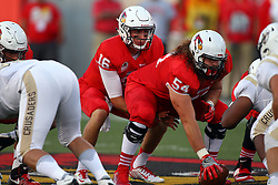 03 September 2016: Jake Kolbe under center, Mark Spelman.  NCAA FCS Football game between Valparaiso Crusaders and Illinois State Redbirds at Hancock Stadium in Normal IL (Photo by Alan Look)