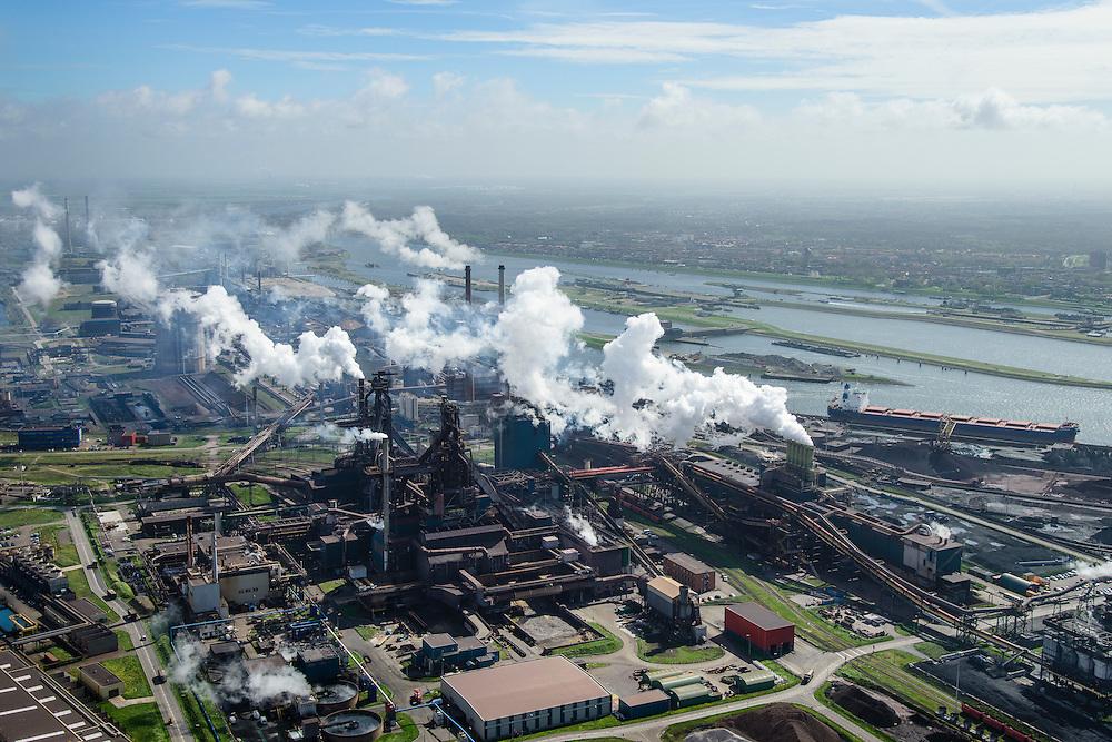 Nederland, Noord-Holland, IJmuiden , 09-04-2014; IJmuiden Steel Works van Tata Steel. Hoogovens.<br /> IJmuiden Steel Works, part of Tata Steel. <br /> luchtfoto (toeslag op standard tarieven);<br /> aerial photo (additional fee required);<br /> copyright foto/photo Siebe Swart
