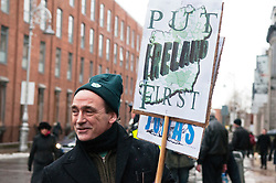 © under license to London News Pictures.  07/12/2010. Paul Maher from Roscrea, Ireland protests against the proposed Irish budget in front of Leinster House in Dublin, Ireland on 7/12/2010. Photo credit should read Michael Graae/London News Pictures