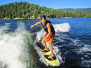 Young male water skier