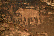 Big Bear petroglyph, near Moab, Utah, is an example of rock art carved by the ancient Fremont native peoples who lived in the area hundrdes of years ago.