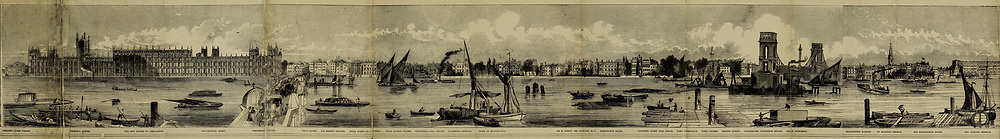Part 1 of 5 of The Grand panorama of London from the Thames Published in London by Charles Evans. This remarkable engraving, twelve feet in length, may be taken as a specimen of the gifts presented without charge to the subscribers to the Pictorial times, family illustrated newspaper; as a print it is unequalled in the history of wood engraving, and is alike valuable as a work of art and as an historical record of the appearance of the great metropolis, seen from the Thames in 1844.
