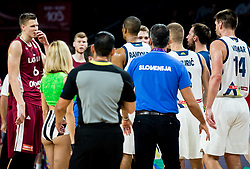 Kristaps Porzingis of Latvia in fight with Anthony Randolph of Slovenia during basketball match between National Teams of Slovenia and Latvia at Day 13 in Round of 16 of the FIBA EuroBasket 2017 at Sinan Erdem Dome in Istanbul, Turkey on September 12, 2017. Photo by Vid Ponikvar / Sportida