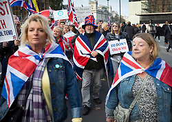 © Licensed to London News Pictures. 31/10/2019. London, UK. Pro-Brexit protesters gather near Parliament on what would have been the United Kingdom's last day as a member of the European Union. The date of Brexit had been moved to January 31, 2020 after MPs failed to pass Prime Minister Boris Johnson's withdrawal agreement. Photo credit: Peter Macdiarmid/LNP